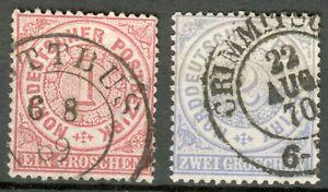 """NDP Lot 2 Werte Mi.-Nr.16,17 mit Doppelkreisstempel """"Cottbus, Crimmitschau"""""""