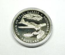 2000 LIBERIA 5 Dollar Medal Dec 7 1941 Attack PEARL HARBOR American Mint Token