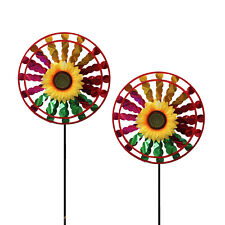 Lot of 2X Double Layer Flower Windmill Wind Spinner Decoration Home Yard Garden