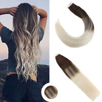 Ugeat Balayage Tape in Hair Extensions Brown to Blonde 20pcs 100% Human Hair
