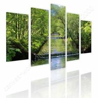 Waterfall by Split 5 Panels | Ready to hang canvas | 5 Panels Wall art paint