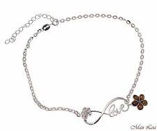 "925 Silver Rhodium Infinity Love Hawaiian Plumeria Flower Koa Wood Anklet 9""+"
