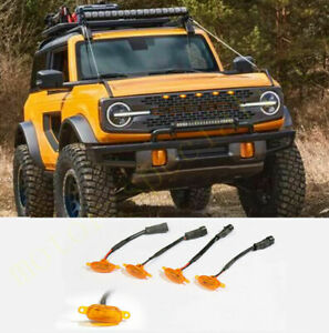 For Ford Bronco 2021 Car Front Grille LED Amber Light Raptor Style Grille Cover