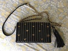 New Tory Burch Black Star Studs Flat Wallet Crossbody Bag $398 Online Sold Out