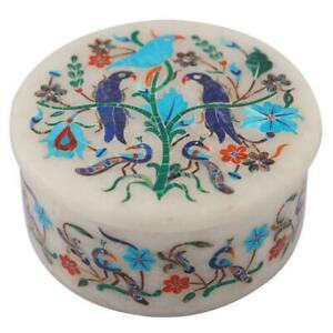 "4"" white Marble Box handmade semi precious stones floral inlay art decor"