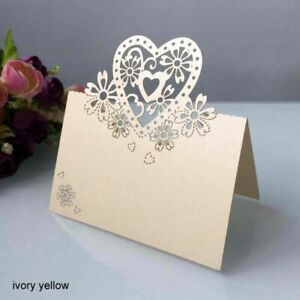 Wedding Party Heart Shape Table Cards Love Name Card Birth Day Laser Cut 50 Pcs