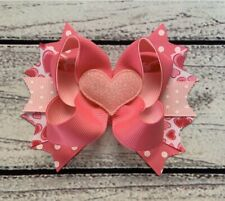 """4.5"""" Handmade Pink Valentine Stacked Boutique Hair Bow"""