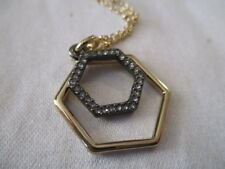 AVON Hexagon Pendant -Interlaying Pendants in a Combo of Metallic Colors 23 1/2""