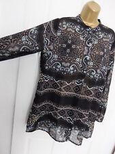BOOHOO ● size 16 ● black paisley silky feel shirt blouse top womens ladies
