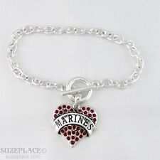 NEW MARINE RED CRYSTAL HEART CHARM SILVER BRACELET TOGGLE CLASP MILITARY