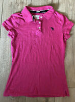 Abercrombie & Fitch Women's Polo T Shirt Pink Medium Cotton Blend Stretch