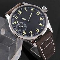 44mm parnis black dial Luminous hands mechanical 6497 mens watch 015