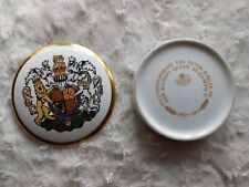 COALPORT ENGLAND Bone China Trinket Royal Silver Jubilee Queen Elizabeth II