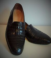 Vintage Mauri Men's Alligator peau, taille 9, Noir Slip-Sur Robe Chaussure.