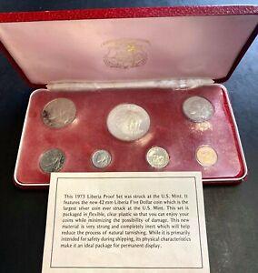 1973 REPUBLIC OF LIBERIA 7 COIN PROOF SET IN CASE .9867 oz SILVER