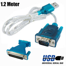1.2m Meter USB To DB9 RS232 Converter PC Adapter Cable + DB9/ DB25 Parallel Lead