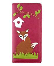 New LAVISHY Checkbook Wallet RED FOX BIRDHOUSE Vegan Faux Leather RED Grass