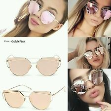 Pink Lens Gold Frame Cat Eye Mirror reflective Large Women Sunglasses