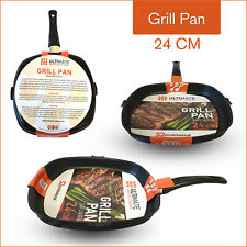 Cast Iron Non Stick Grill Pan Induction Frying Griddle Barbecue Fry Skillet 24cm