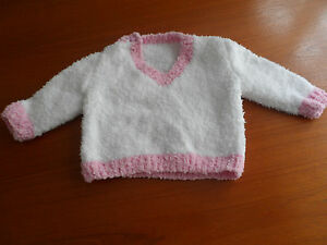 hand knitted baby girl jumper 6-12 months