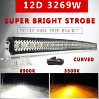 "12D 22"" 32"" 42"" 50"" Offroad Led Light Bar Tri-Row Dual Color Combo Beam 4x4 12V"