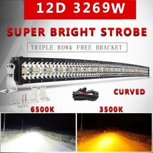 "12D 22"" 32"" 42"" 50"" Offroad Led Light Bar Tri-Row Dual Color Combo Beam 4x4 12V"