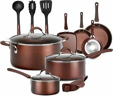 NutriChef Nonstick Cooking Kitchen Cookware Pots and Pans, 14 Piece Set, AGold