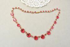 "Czechoslovakia Czech Pink Glass Necklace Vintage Faceted Rhinestone 16"" Art Deco"