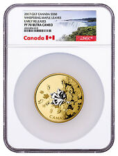 2017 Canada Whispering Maple Leaves 3 oz Silver Gilt $50 NGC PF70 UC ER SKU48585