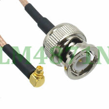 """cable BNC male plug straight to MMCX male right angle crimp RG316 12"""" pigtail"""