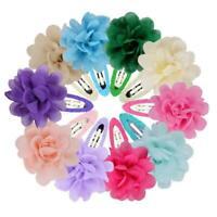 10Pcs Chiffon Flower Girls Baby Hair Clips Hairpins Barrettes P7O6 Headwea N2K