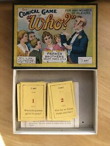 Antique Comical Game Of Who Card Game Parker Bros Inc USA 1920 Boxed Rare Game