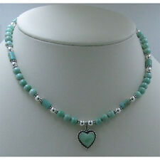 925 Sterling Silver Natural Light Green Variscite Heart Beaded Necklace