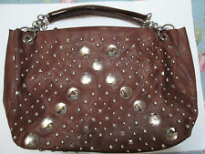 """Studded faux brown leather handbag Purse LARGE 21"""" wide zips Laptop fits"""