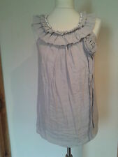 New Look, Long Dress Top In Stone, Flower Corsage, Frill, Bead Detail Size 6/8