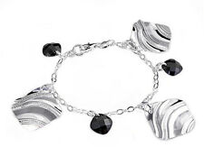 Italian Bracelet with Black CZ Charms Sterling Silver 925 Jewelry Gift 7""