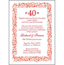 25 Personalized 40th Wedding Anniversary Party Invitations  - AP-002