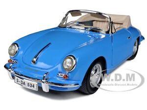 1961 PORSCHE 356B CONVERTIBLE BLUE 1/18 DIECAST MODEL CAR BY BBURAGO 12025