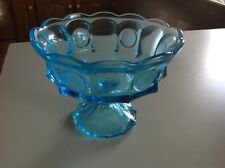 Fostoria Blue Coin Glass Large Compote