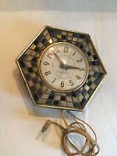 Vtg RETRO General Electric Wall Clock 2118A~Hexagon & Mosaic Tile Grey Tan