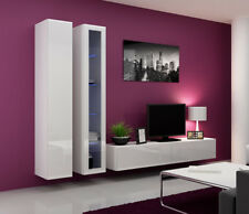 Seattle 9 - gloss white entertainment set furniture / living room wall unit