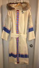 OOAK Handmade Blanket Capote W/ Beaded Trim, Fur Hood Trim & Leather Fringe