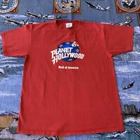 Men's Large Red Planet Hollywood Mall Of America 100% Cotton Made In USA T-Shirt