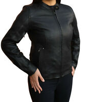 NEW WOMENS SOFT LOOK MOTORCYCLE LEATHER JACKET FULL CE ARMOUR SIZES 8 to 18