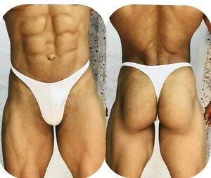 mens white thong with seam front custom made to any size
