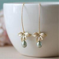 Femmes bijoux perle élégantes dames  d'argent orchidée longue boucles d'oreilles