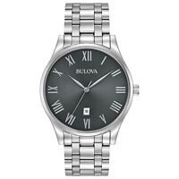 Bulova Men's Quartz Grey Dial Roman Numerals Silver-Tone 40mm Watch 96B261