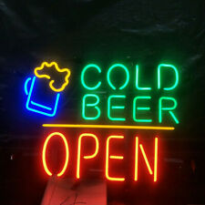 "Cold Beer Open 20""x16"" Neon Sign Lamp Bar With Dimmer"