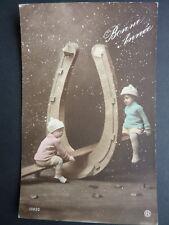 FANTAISIES Enfant old postcard vintage fantasy enfants balançoire fer à cheval
