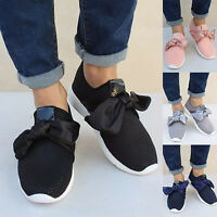 Womens Summer Bowknot Sneaker Breathable Trainers Sports Slip On Loafers Shoes